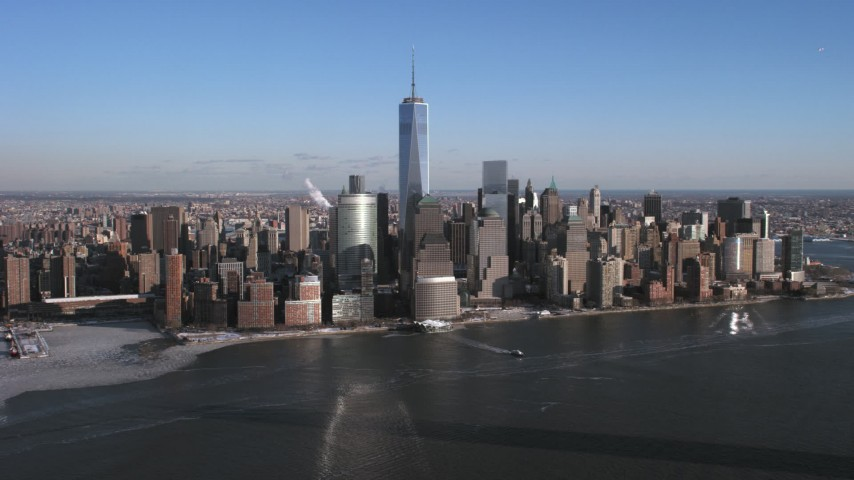 5K stock footage aerial video approach Lower Manhattan skyline from the Hudson, New York City Aerial Stock Footage | AX66_0168
