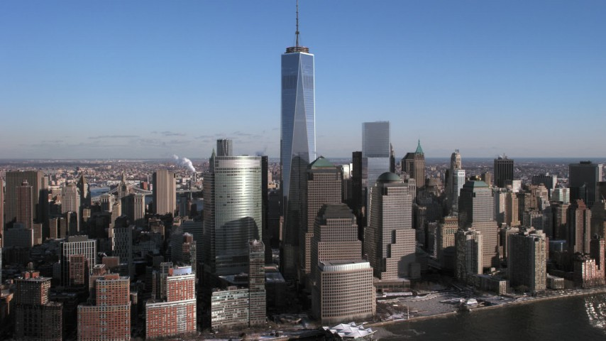 One World Trade Center and skyscrapers, New York City Aerial Stock Footage | AX66_0170