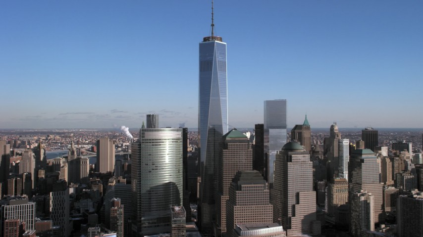 5K stock footage aerial video One World Trade Center and skyscrapers, Lower Manhattan, New York City Aerial Stock Footage | AX66_0170