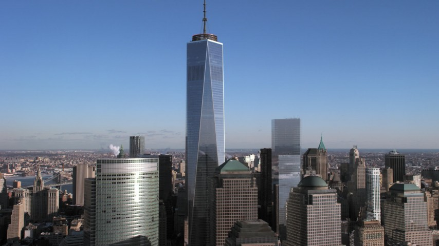 5K stock footage aerial video of the One World Trade Center skyscraper, Lower Manhattan, New York City Aerial Stock Footage | AX66_0171