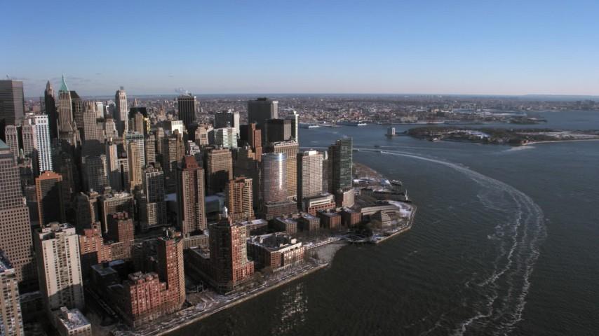 Lower Manhattan on Hudson River, New York City Aerial Stock Footage | AX66_0172