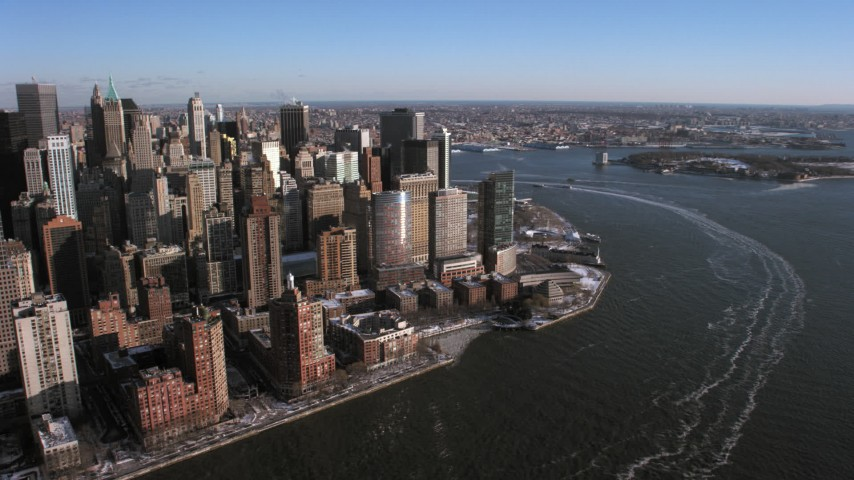 5K stock footage aerial video of Lower Manhattan skyscrapers by the Hudson River, New York City Aerial Stock Footage | AX66_0172