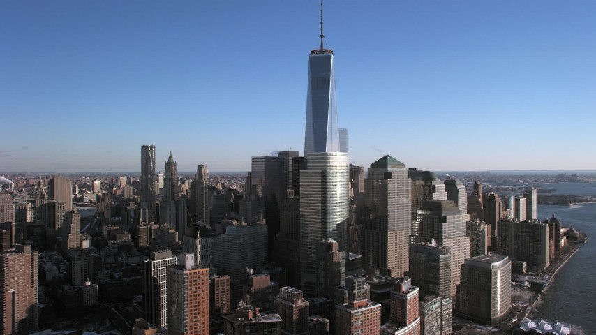 5K aerial video of an orbit of World Trade Center and Lower Manhattan skyscrapers, New York City Aerial Stock Footage | AX66_0175