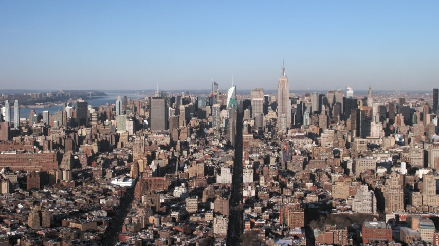 5K stock footage aerial video of a wide view of Midtown Manhattan skyscrapers, New York City Aerial Stock Footage | AX66_0176