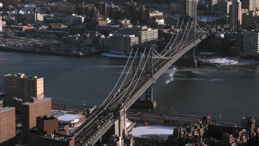 5K stock footage aerial video of the Manhattan Bridge in New York City Aerial Stock Footage | AX66_0177