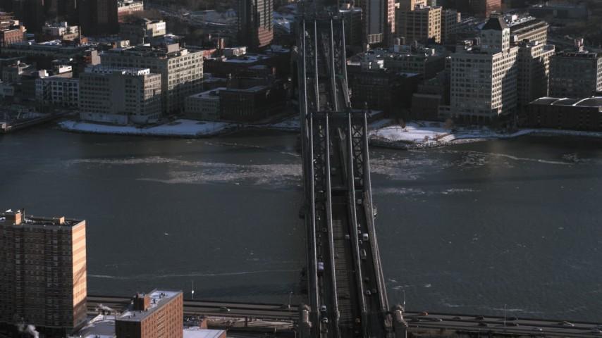 5K stock footage aerial video of orbiting the Manhattan Bridge in New York City Aerial Stock Footage | AX66_0178