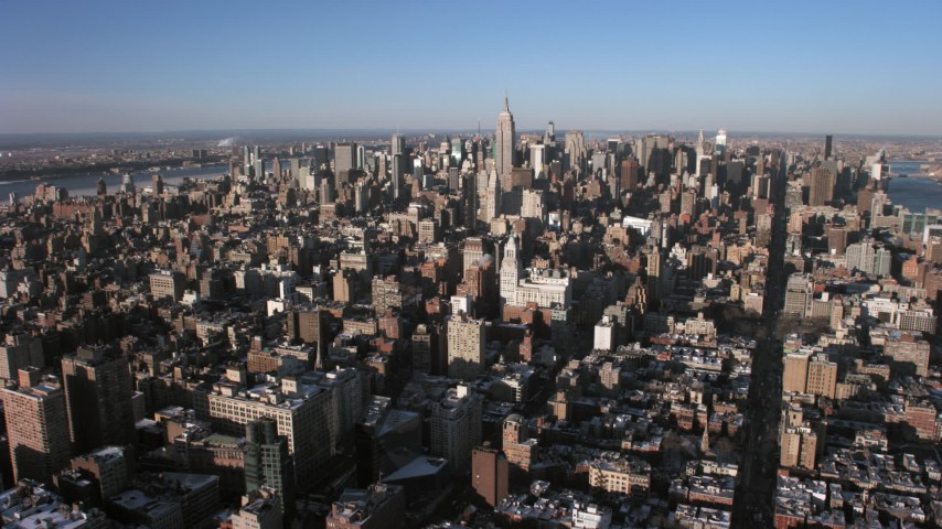 Midtown Manhattan, New York City Aerial Stock Footage | AX66_0180