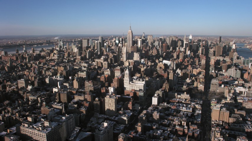 5K aerial video approach the Empire State Building and Midtown Manhattan, New York City Aerial Stock Footage | AX66_0180