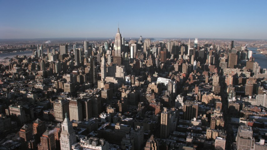 5K stock footage aerial video approach Midtown Manhattan skyscrapers, New York City Aerial Stock Footage | AX66_0181