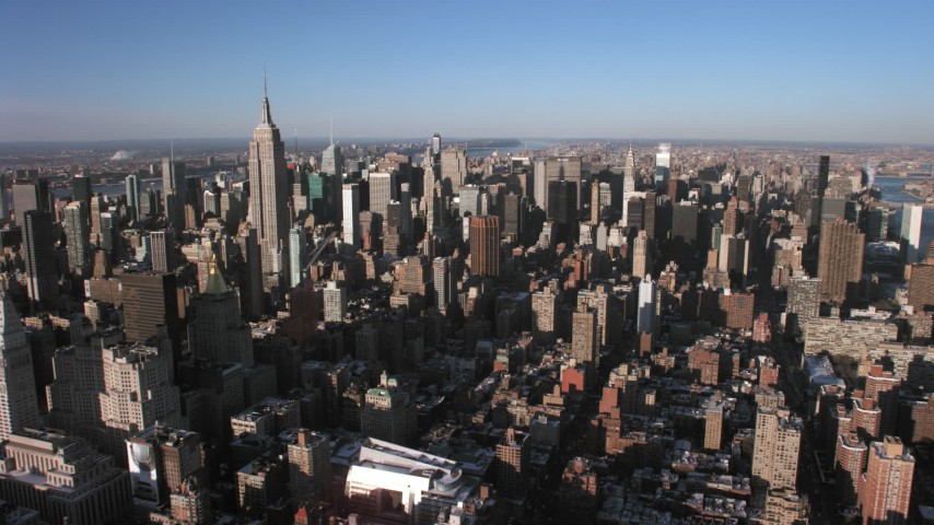 5K stock footage aerial video of towering Midtown Manhattan skyscrapers, New York City Aerial Stock Footage | AX66_0182