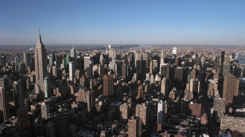 5K stock footage aerial video of flying toward Midtown Manhattan skyscrapers, New York City Aerial Stock Footage | AX66_0183
