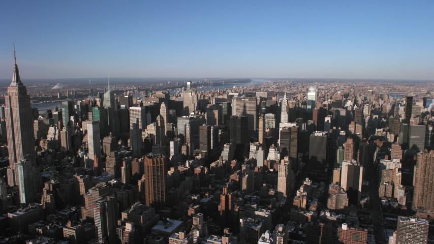 5K stock footage aerial video of flying toward Midtown Manhattan skyscrapers and Chrysler Building, New York City Aerial Stock Footage | AX66_0184