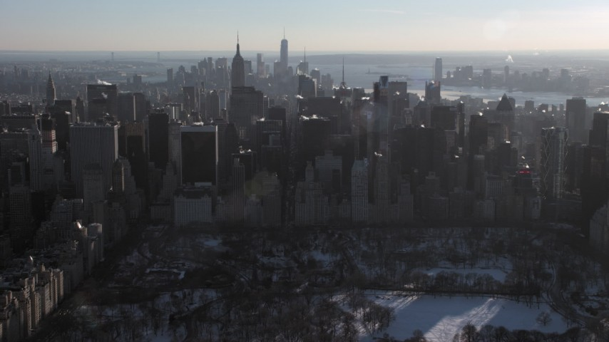 5K stock footage aerial video of Midtown Manhattan skyscrapers in New York City Aerial Stock Footage | AX66_0204