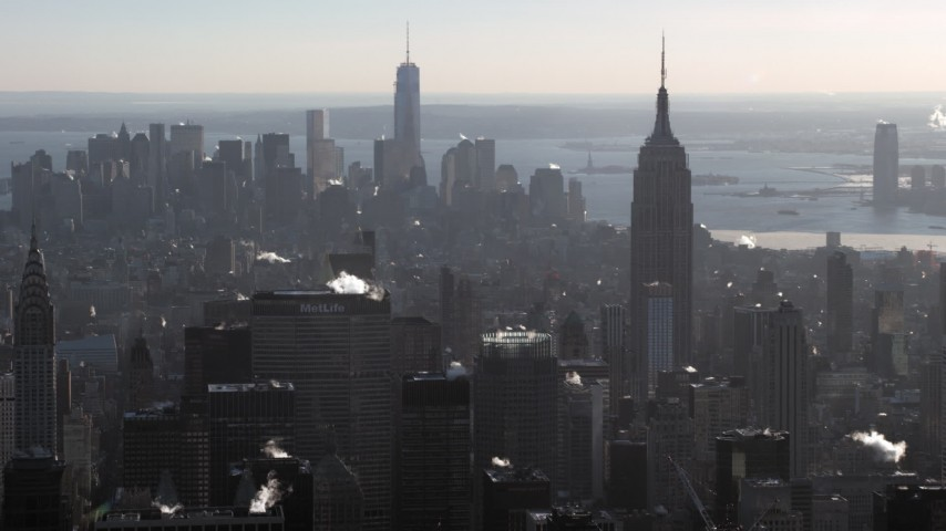 5K stock footage aerial video of the Empire State Building and Lower Manhattan skyscrapers, New York City Aerial Stock Footage | AX66_0208