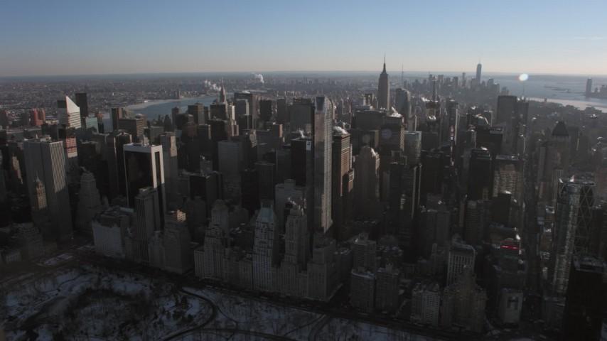 5K stock footage aerial video of Midtown Manhattan skyscrapers, New York City Aerial Stock Footage | AX66_0213