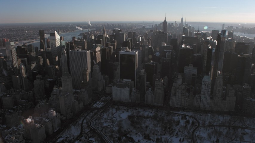 5K stock footage aerial video pass by Midtown Manhattan skyscrapers, New York Aerial Stock Footage   AX66_0214