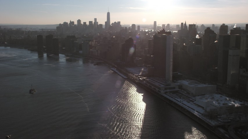 United Nations Building, New York City Aerial Stock Footage | AX66_0219