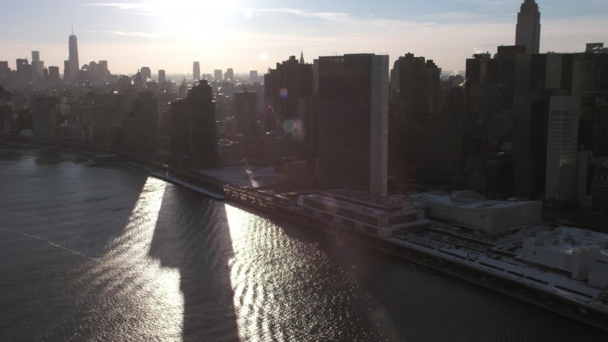 United Nations building, New York City Aerial Stock Footage | AX66_0220