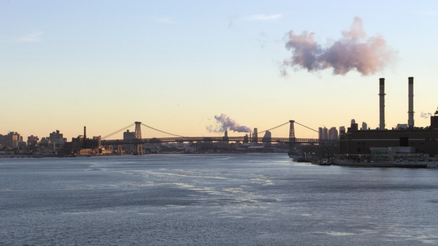 5K stock footage aerial video approach the Williamsburg Bridge on East River, New York City sunset Aerial Stock Footage | AX66_0226
