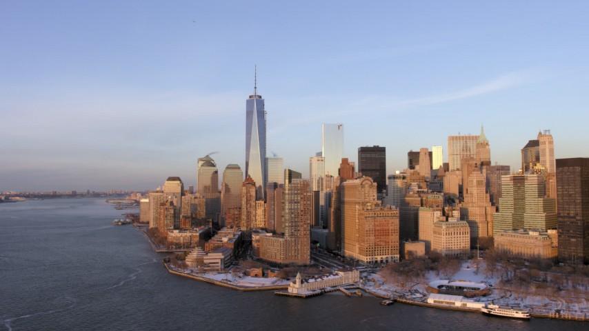 One World Trade Center, New York City twilight Aerial Stock Footage | AX66_0241