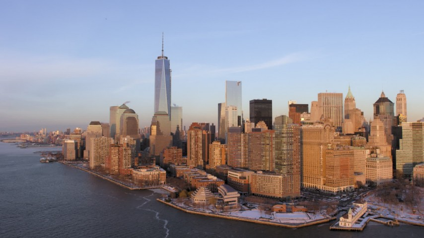 5K stock footage aerial video of One World Trade Center and Lower Manhattan skyscrapers, New York City, sunset Aerial Stock Footage   AX66_0241