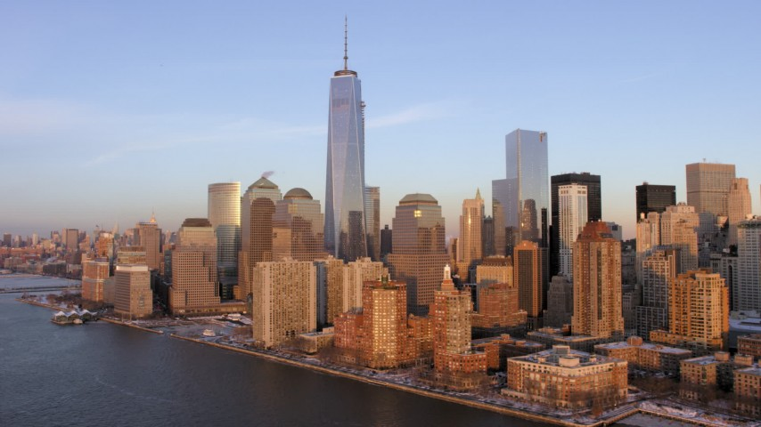 5K stock footage aerial video of a view of One World Trade Center and Lower Manhattan, New York City, sunset Aerial Stock Footage | AX66_0242