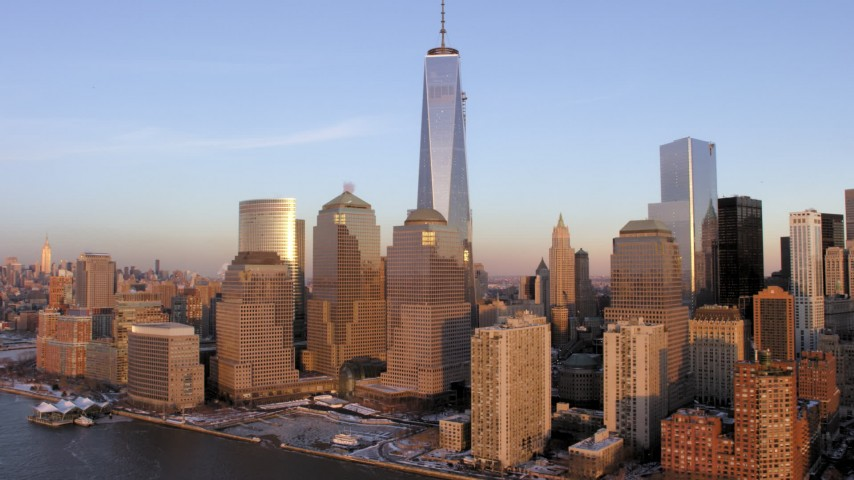 5K stock footage aerial video of One World Trade Center, Lower Manhattan skyscrapers, New York City, sunset Aerial Stock Footage | AX66_0243