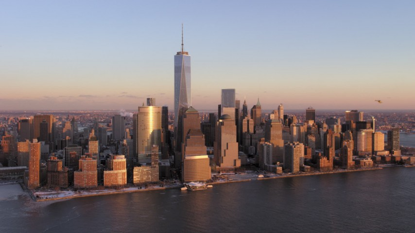 5K stock footage aerial video approach Lower Manhattan skyscrapers and One World Trade Center, New York City, sunset Aerial Stock Footage | AX66_0253