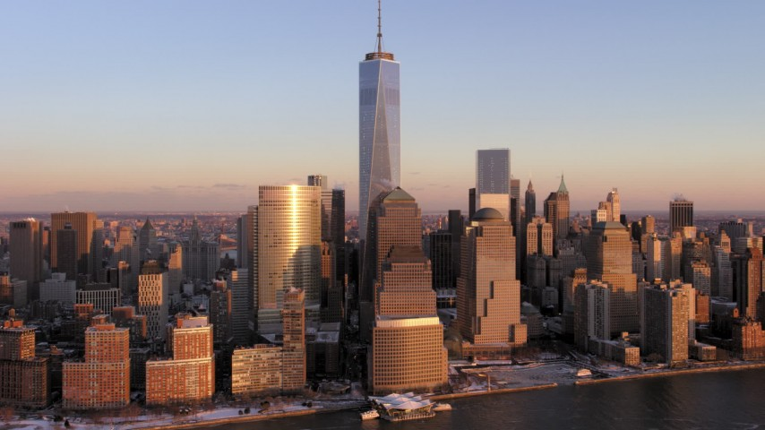 5K stock footage aerial video approach One World Trade Center, Lower Manhattan, New York City, sunset Aerial Stock Footage   AX66_0254