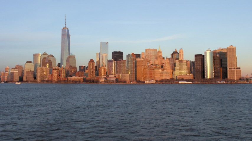 Lower Manhattan Skyline, New York City Sunset Aerial Stock Footage | AX66_0261