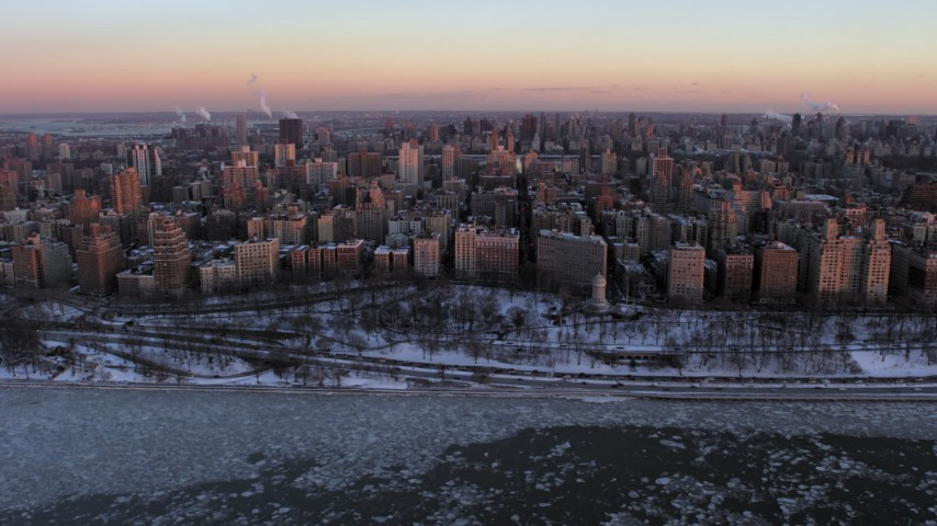 5K stock footage aerial video of Upper West Side apartment buildings beside park in winter, New York City, twilight Aerial Stock Footage | AX66_0278