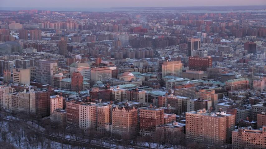 Columbia University in winter, New York City twilight Aerial Stock Footage | AX66_0279