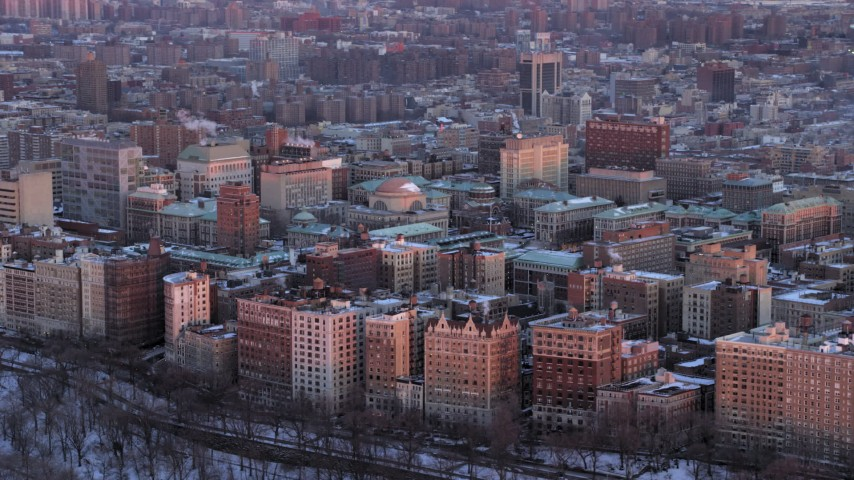 5K stock footage aerial video of Columbia University in winter, New York City, twilight Aerial Stock Footage | AX66_0279