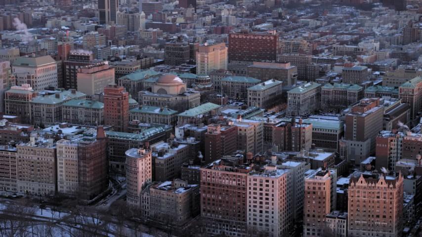 Columbia University in winter, New York City twilight Aerial Stock Footage | AX66_0280