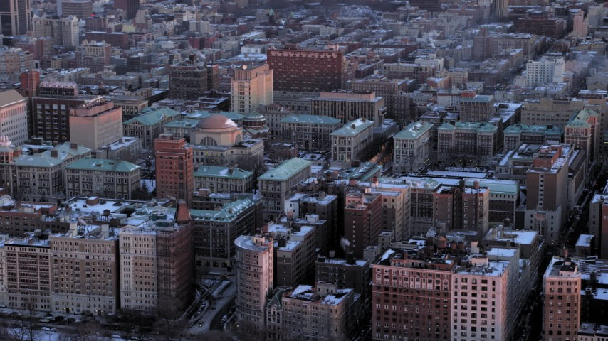5K stock footage aerial video of an orbit of Columbia University in winter, New York City, twilight Aerial Stock Footage | AX66_0280
