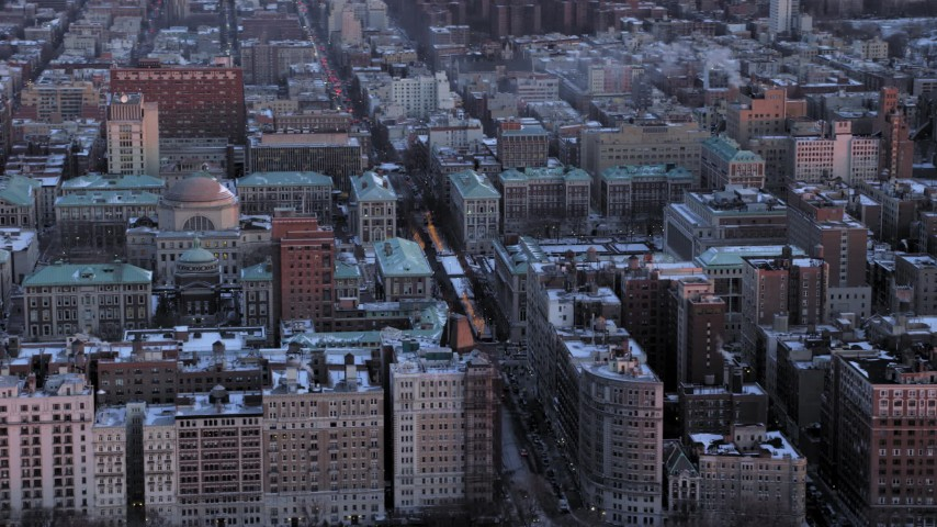 Columbia University Campus in winter, New York City twilight Aerial Stock Footage | AX66_0281