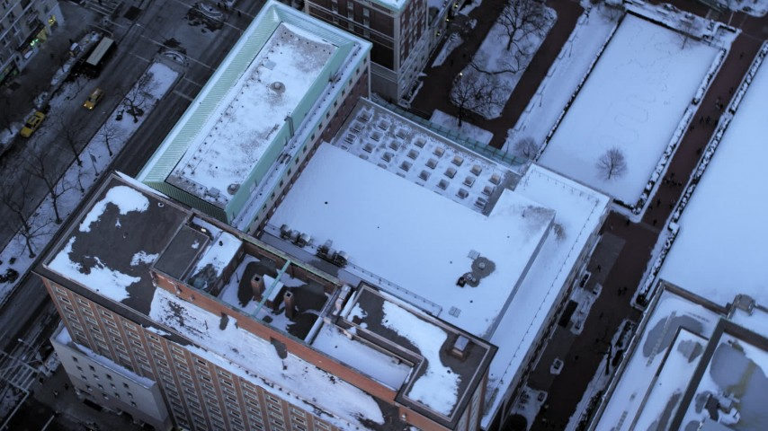 Bird's Eye Columbia University in winter, New York City twilight Aerial Stock Footage | AX66_0284