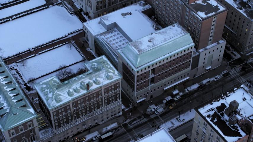 Columbia University in winter, New York City twilight Aerial Stock Footage   AX66_0285