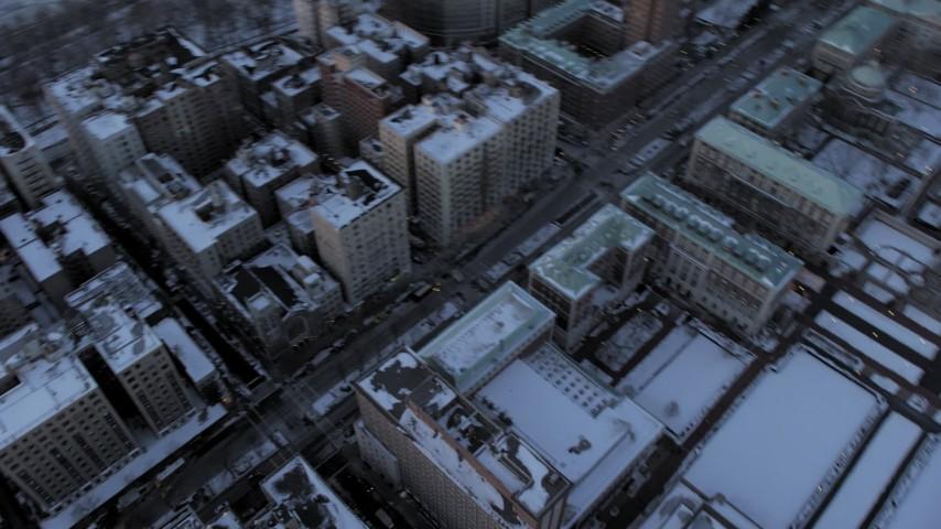 Columbia University in winter, New York City twilight Aerial Stock Footage | AX66_0289