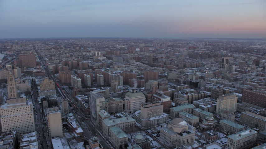 Columbia University in winter, New York City twilight Aerial Stock Footage | AX66_0290