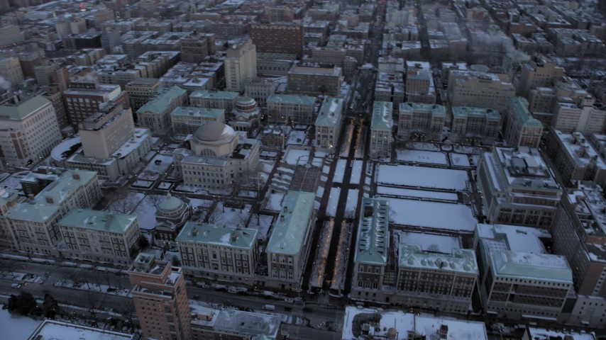 5K stock footage aerial video tilt to Columbia University and orbit in winter, New York City, twilight Aerial Stock Footage | AX66_0290