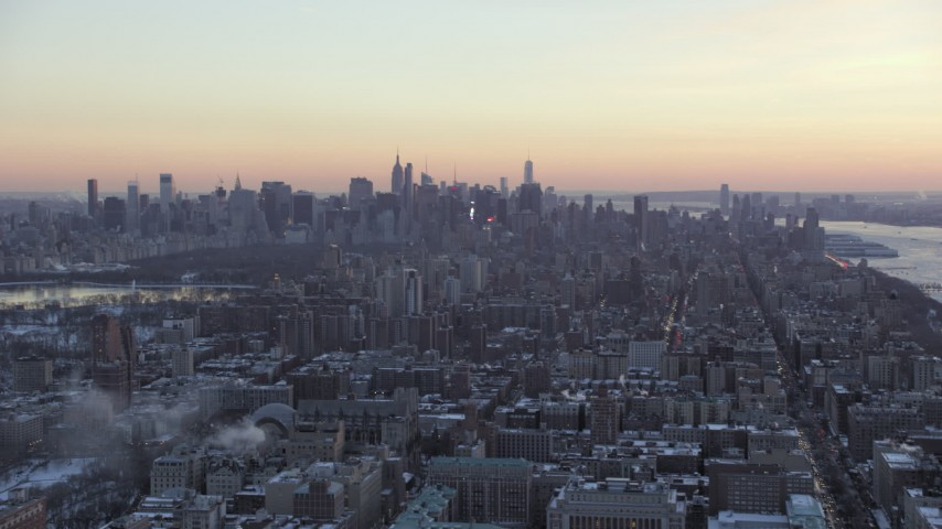 Reveal Columbia University in winter, New York City twilight Aerial Stock Footage | AX66_0293