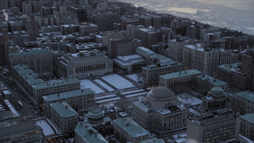 5K stock footage aerial video of an orbit of Columbia University in winter, New York City, twilight Aerial Stock Footage | AX66_0294