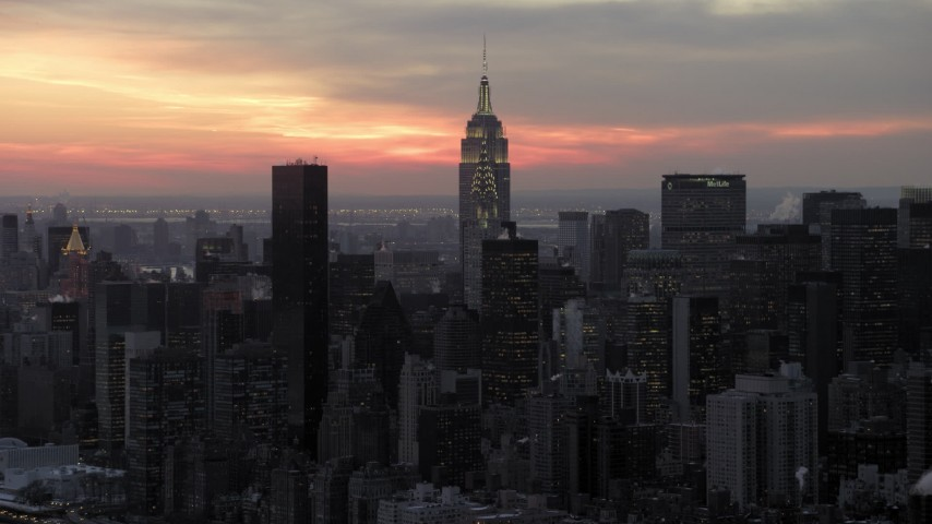 5K stock footage aerial video of Chrysler and Empire State Building in Midtown, winter, New York City, twilight Aerial Stock Footage | AX66_0320