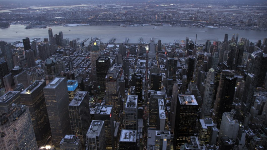 5K stock footage aerial video of Hell's Kitchen, Midtown Manhattan in winter, New York City, twilight Aerial Stock Footage | AX66_0329