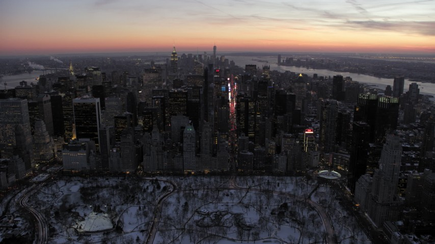 Times Square and Midtown Manhattan in winter, New York City twilight Aerial Stock Footage | AX66_0335