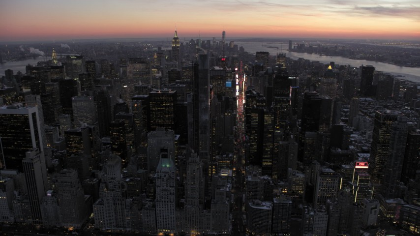 Times Square and Midtown in winter, New York City twilight Aerial Stock Footage | AX66_0336