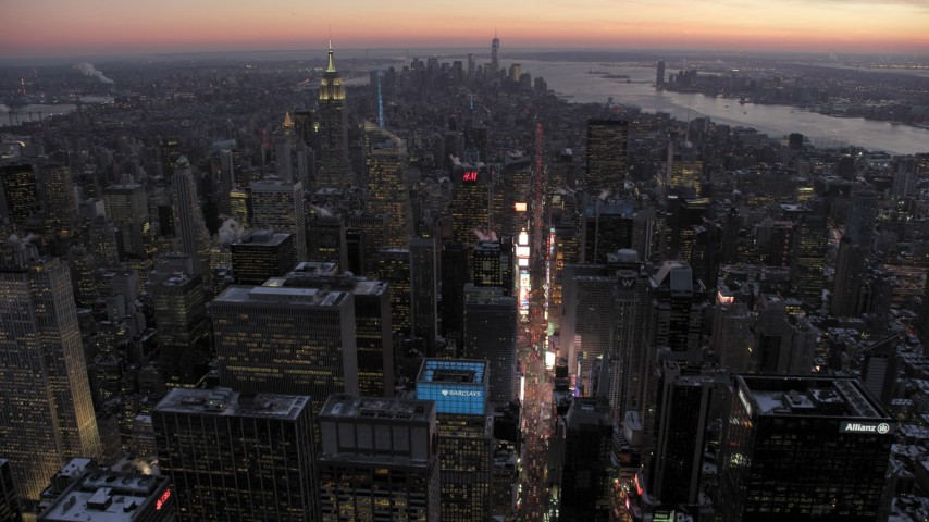 Tilt Down Times Square in winter, New York City twilight Aerial Stock Footage | AX66_0338
