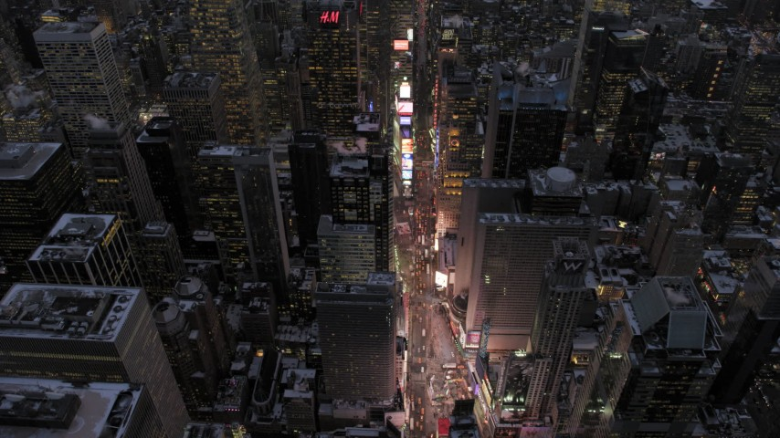 Bird's Eye Times Square in winter, New York City twilight Aerial Stock Footage | AX66_0339