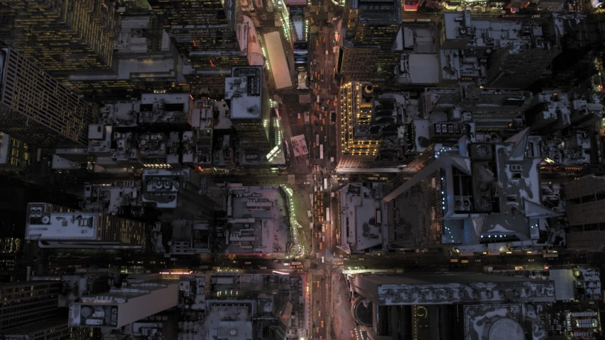 Bird's Eye of Times Square in winter, New York City twilight Aerial Stock Footage   AX66_0340